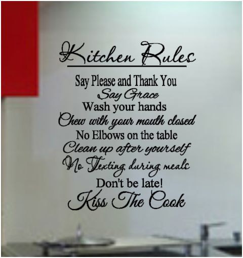 Beautiful Kitchen Rules Vinyl Wall Art