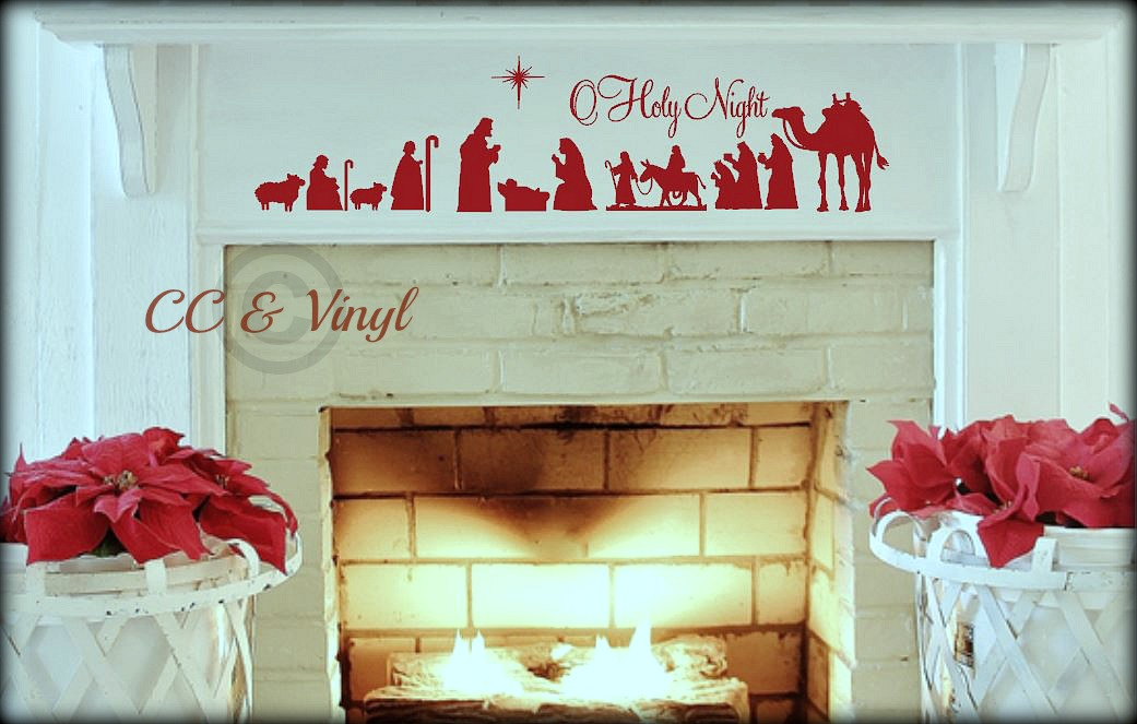 christmas nativity scene vinyl wall art on luulla
